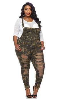 Plus Size Ripped Skinny Leg Overalls in Camouflage