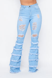High Waisted Distress Flare Jeans W/ Multi Frays - Light Denim - SohoGirl.com