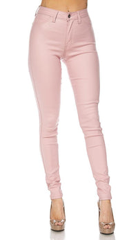 Pink Faux Leather Super High Waisted Pants (S-XL)