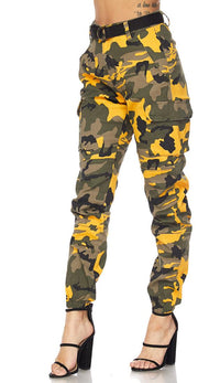 Belted Yellow Camouflage Cargo Jogger Pants (S-XL)
