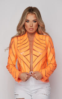 Mesh Faux Leather Blazer Jacket - Neon Orange