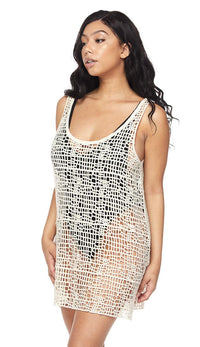 Ivory Mini Crochet Cover Up Dress