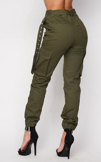 Belted High Waist Cargo Jogger Pants - Olive