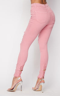 Vibrant High Waisted Distressed Stretchy Ripped Jeans in Blush