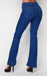 Mid Rise Denim Bootcut Pants in Vibrant Blue (S-3XL) - SohoGirl.com