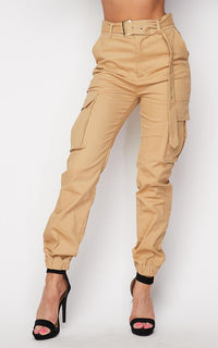 Belted High Waist Cargo Jogger Pants - Khaki