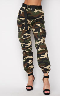 Belted High Waist Cargo Jogger Pants - Khaki Camouflage