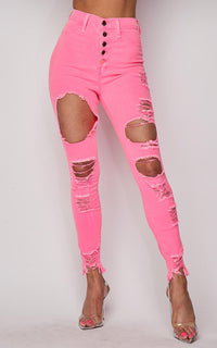 Vibrant High Waisted Button Fly Distressed Jeans in Neon Pink