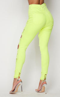 Vibrant High Waisted Button Fly Distressed Jeans in Neon Yellow