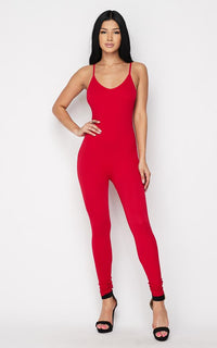 Ribbed Camisole Unitard in Red - SohoGirl.com