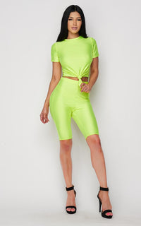Neon Green Nylon Front Tie Top and Bermuda Shorts - SohoGirl.com