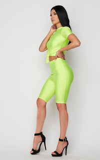Neon Green Nylon Front Tie Top and Bermuda Shorts
