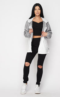 Two Tone Windbreaker Zip Up Jacket - Gray-White