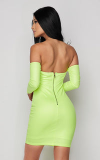 Neon Green Off The Shoulder Tie Front Dress - SohoGirl.com