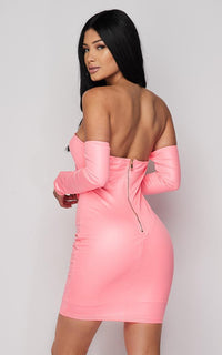 Neon Pink Off The Shoulder Tie Front Dress - SohoGirl.com