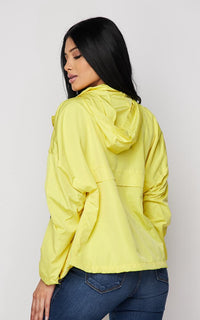 Contrast Trim Windbreaker Jacket - Yellow-Black