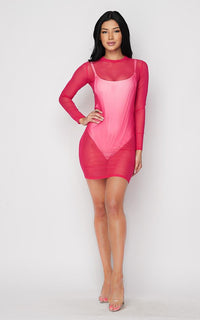 Hot Pink Long Sleeve Mesh Cover Up