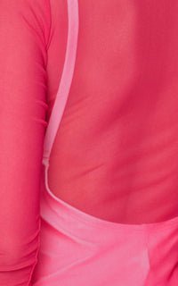 Hot Pink Long Sleeve Mesh Cover Up - SohoGirl.com