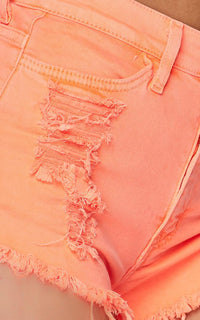 High Waisted Distressed Denim Shorts - Neon Orange