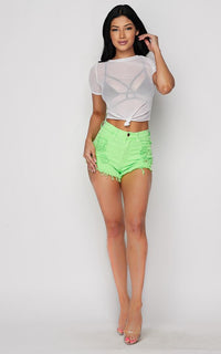High Waisted Distressed Denim Shorts - Neon Green