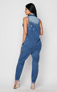 Sleeveless Distressed Button Up Denim Jumpsuit