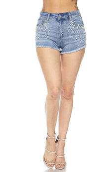 Pearl Embellished High Waisted Denim Shorts - SohoGirl.com