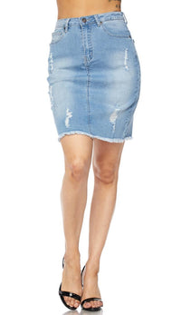 Light Wash High Waisted Denim Skirt - SohoGirl.com