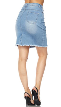 Light Wash High Waisted Denim Skirt