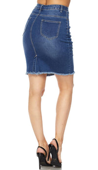 Distressed Stretch Denim High Waisted Pencil Skirt