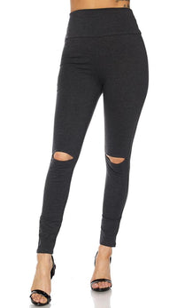 Charcoal Knee Slit Super High Waisted Leggings