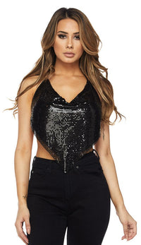 Black Chainmail Triangle Draped Top - SohoGirl.com