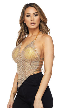 Gold V-Neck Rhinestone Chainmail Triangle Top - SohoGirl.com