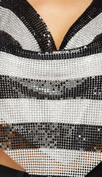 Black and White Striped Rhinestone Chainmail Top - SohoGirl.com