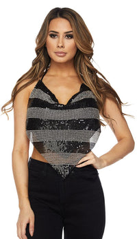 Black and Silver Striped Rhinestone Chainmail Top