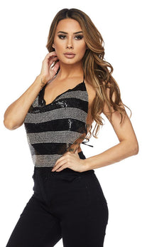 Black and Silver Striped Rhinestone Chainmail Top - SohoGirl.com