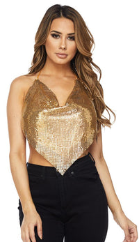 Gold Chainmail Triangle Draped Top