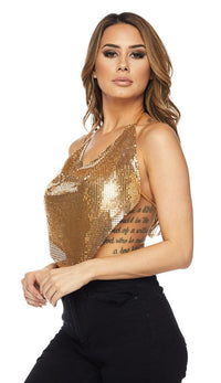 Gold Chainmail Triangle Draped Top - SohoGirl.com