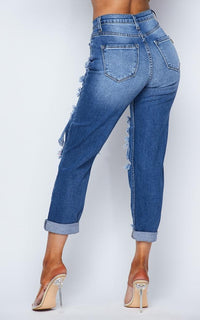 Vibrant Jeans Distressed Vintage Denim Mom Jeans