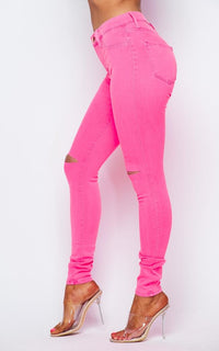 Vibrant Knee Slit High Rise Jeans in Neon Pink