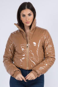 Cropped Puffer Jacket in Mocha - SohoGirl.com
