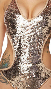Rose Gold Sequin One Piece Swimsuit