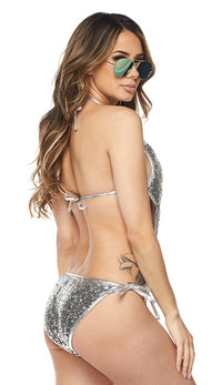Silver Sequin One Piece Swimsuit - SohoGirl.com