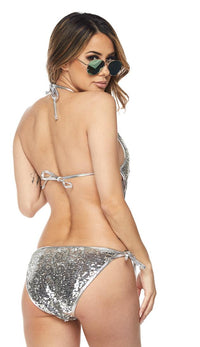Silver Sequin One Piece Swimsuit