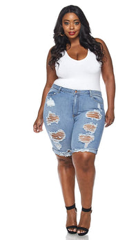 Plus Size High Waisted Distressed Bermuda Shorts in Blue Denim - SohoGirl.com