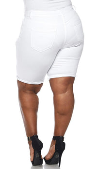 Plus Size High Waisted Distressed Bermuda Shorts in White - SohoGirl.com