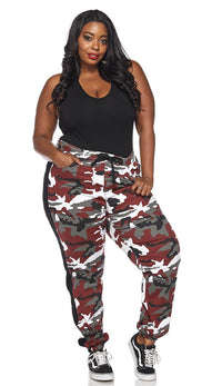 Plus Size Drawstring Camouflage Side Stripe Cargo Pants - Burgundy