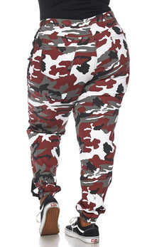 Plus Size Drawstring Camouflage Side Stripe Cargo Pants - Burgundy - SohoGirl.com