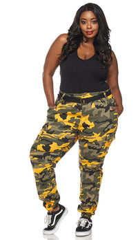 Plus Size Belted Yellow Camouflage Cargo Jogger Pants - SohoGirl.com