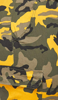 Plus Size Belted Yellow Camouflage Cargo Jogger Pants