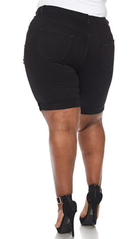 Plus Size Solid Black High Waisted Bermuda Shorts